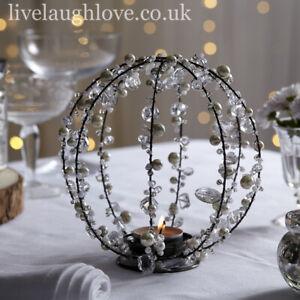 Pearl & Crystal Globe Tea Light Holder - Large
