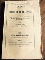 Annale de Chimie Respiration animaux 1849 Regnault Woestyn Reiset Vétérinaire