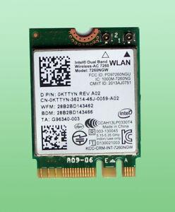 Intel Dual Band Wireless- AC7260 Model 7260NGW  867Mbps Bluetooth4.0 M.2  0KTTYN