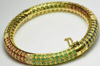 10.25CT Round Cut Emerald,Sapphire,Ruby 14K Yellow Gold Over Bangle Bracelet