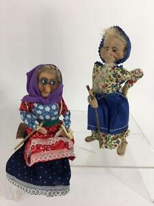 Folk Art Vtg 2 Doll Lot Granny Old Woman Wrinkle Mask Face Enesco Seated Log