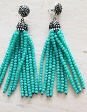 DEVOTIONALUXE Turquoise Druzy Tassle Earrings $125 BNWT!