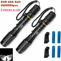 2 Set 50000 Lumens Police LED Tactical Flashlight 5 Modes T6 18650 Battery Torch