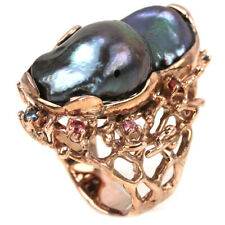 GENUINE BLACK PEACOCK BAROQUE PEARL & SAPPHIRE STERLING 925 SILVER RING 7.5