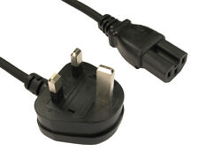 UK Mains to IEC C15 Power Cable PC XBOX 360 LCD PS3 Kettle Hot Notched Keyed
