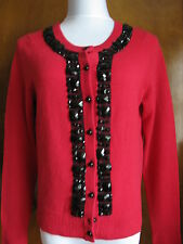 Bloomingdale's Women's bright red soft cashmere beaded cardigan Large NWT