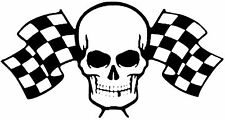 Skull Checkered Flag Vintage Hot Rat Rod Drag Racing Decal Sticker