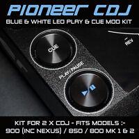 PIONEER CDJ 900 / 850 / 800  BLUE & WHITE PLAY & CUE LED MOD KIT (FOR 2 x CDJS)