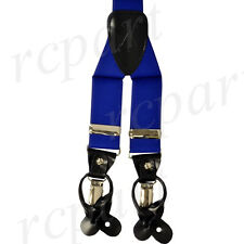 New in box Men's Elastic Suspender Royal Blue Braces clips buttons wedding