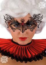 Masque loup en filigrane noir et strass rouge dentelle d'acier noir 728 carnaval