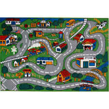 "Shag Area Rug for Children Play 19""X29"" Road Driving Kids Street City map Carpet"
