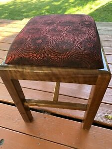 natural walnut wood & genuine leather Cowhide Ottoman pouf footstools custom