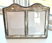 2 ANTIQUE STERLING SILVER ENGLAND PICTURE FRAME ORNATE REPOUSSE RIBBONS BOWS