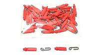 50 Enganches rápidos de varilla acero inox de 1,2mm con perlas, rojo grapas clip