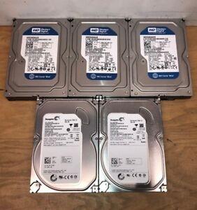 """Lot of 5 Western Digital Seagate HGST 250GB SATA 3.5"""" HDD Internal Hard Drive"""