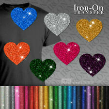IRON-ON Glitter Heart Motif HotFix FABRIC T-SHIRT TRANSFER SEQUIN Stickers