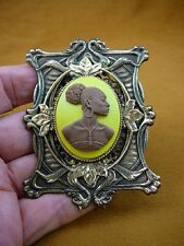 (CA20-41) RARE African American LADY yellow milk brown CAMEO Pin Pendant JEWELRY