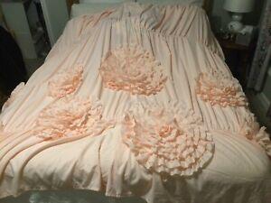 "Lush Decor Fancy Elegant flower Ruffle Shower Curtain, 72"" X 114"" Blush Pink"