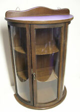 Vintage Wood Curio Cabinet Curved Glass, Wall Tabletop Shelf Miniature Display