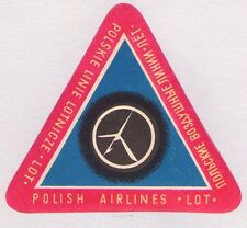 "ORIGINAL POLAND ""LOT"" POLISH AIRLINES LUGGAGE LABEL ~ RED"