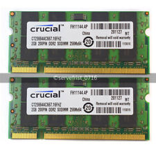 Crucial 4GB 2*2GB PC2-5300 DDR2 667MHZ 200pin New SODIMM Laptop Memory Ram Pairs