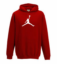 JUKO Children's Jordan Hoodie Basketball Michael Bulls Air NBA Unisex Red 12-13 Years