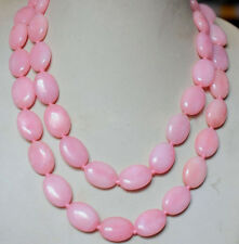 100% Natural 13X18mm Pink Jade Oval Gemstone Beads knotted Necklace Long 36''