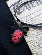 Collana con Ciondolo Gotico Teschio Halloween FIOCCO ROSSO LADY Cameo Cabochon Victorian