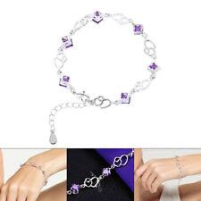 AU 925 Sterling Silver Amethyst Love Heart Bracelet Fashion Jewelry Valentine's