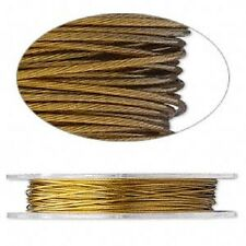 2323BS Gold Nylon Steel Beading Wire, Tigertail, 0.018, 30ft