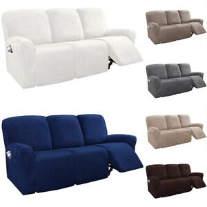 3 Seater Recliner Chair Cover Sofa Suede Slipcover Arm Chair Decor 1set/8pcs