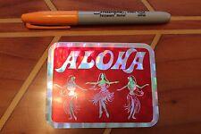 ALOHA (RED) - TIKI HULA DANCERS Hawaii Vintage 80's Surfing Tiki Prism STICKER