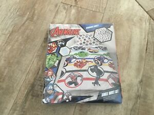 Marvel Avengers Single Duvet Cover Bedding Set Comics Super Hero's Blue/  New