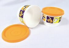 Tupperware Halloween Snack Cup 4 oz. # 1229 Orange lid seal #297  Set of 2