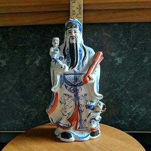 CHINESE PORCELAIN LU XING GOD OF PROSPERITY FIGURINE FAMILLE ROSE