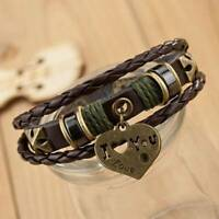 Jewelry Fashion Infinity Leather Charm Bracelet Silver ''I Love You'' Style new