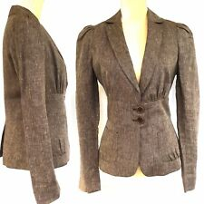 Max Edition Linen Blazer Jacket Size 8 Beige Brown Fully Lined Career Wear