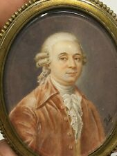 Portrait Homme du XVIII ème Siècle Miniature Peinture Antique  Painting 18th