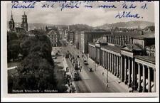 1940 STUTTGART Tram Strassenbahn passiert Königstraße und Königsbau Gebäude AK