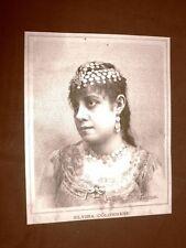 Raro ritratto del Soprano Elvira Colonnese del 1887 Teatro