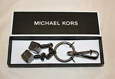 Michael Kors Gunmetal Pair of Dice Key Chain  Key Fob Charm w/ Carabiner Clasp