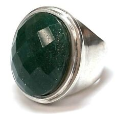 LARGE Vintage Aventurine Sterling Silver Bezel Set Cocktail Ring - Size 6.5