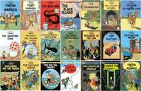 Classic Graphic Novels of TINTIN Collection Set of Paperback Books 1-21