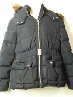 GIRLS ZARA GIRLS AGE 11-12 YEARS NAVY HOODED PADDED QUILTED COAT JACKET KIDS