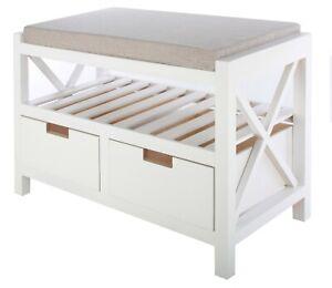 Sitzkommode Sitzbank Schubladenschrank Schuhschrank Shabby Vintage K123-Weiß