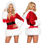 Adult ladies Santa Hooded Claus Outfit Christmas Fancy Dress Costume Xmas Party