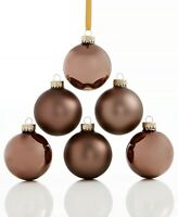 Holiday Lane Set of 6 Glass Gray Ball Ornaments NEW