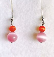 Pretty In Pink With A Hint Of Orange Cats Eye Glass Drop Earrings