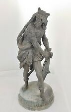 "Antique Spelter Germanic / Visigoth Warrior w Shield & Sword - 20"" Tall - Estate"