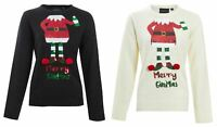 Womens Ladies Novelty Sequin Elf Santa Ugly Christmas Glitter Jumper Sweater Top